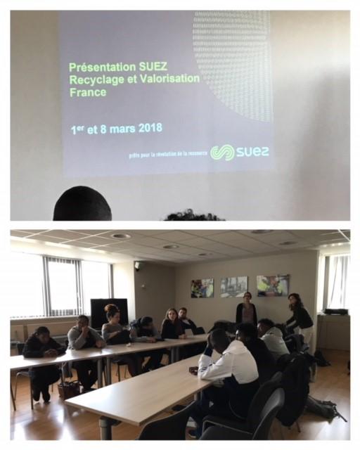 Intervention de l'entreprise SUEZ Recyclage & Valorisation France auprès des volontaires